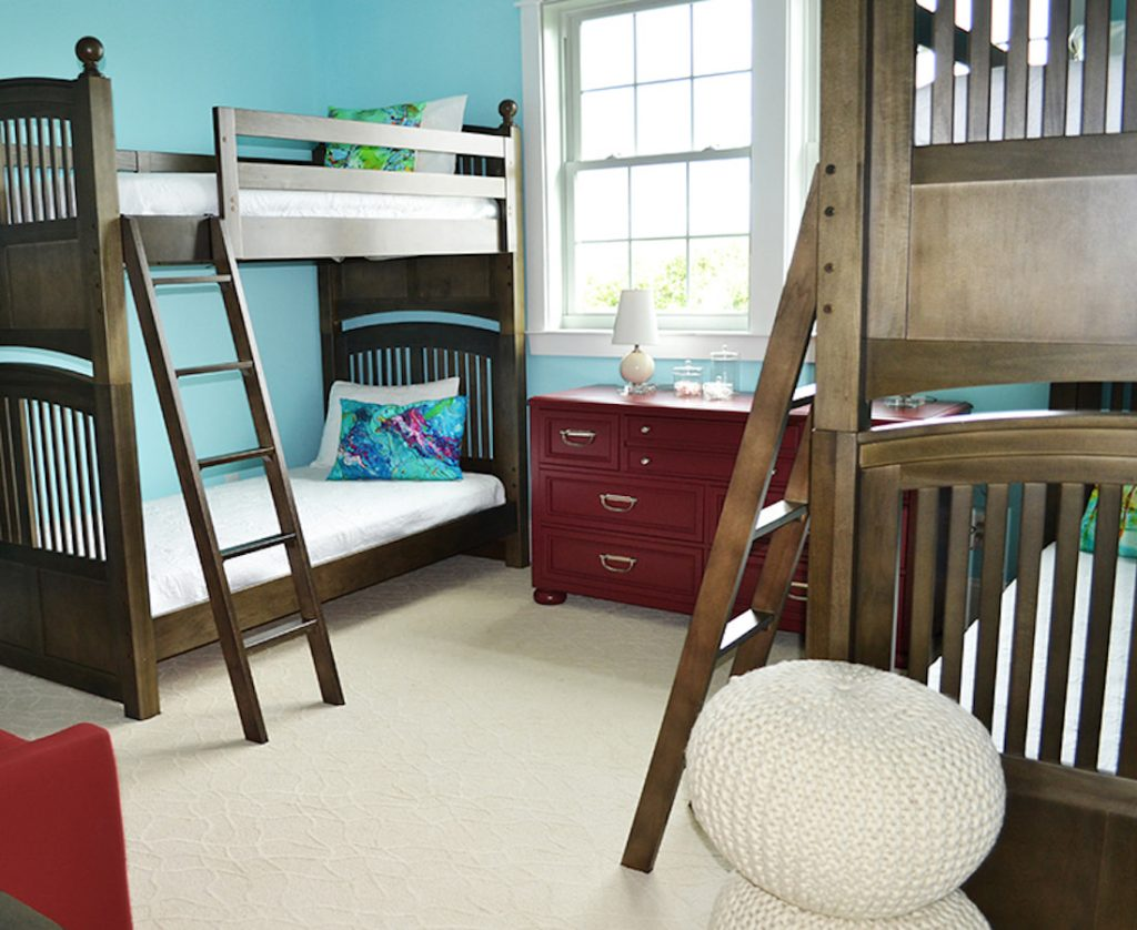 Children's Room double bunk beds wood tones beach theme