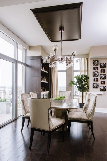 Transitional Dining Room with Moss and Fiddle Leaf Fig Tree