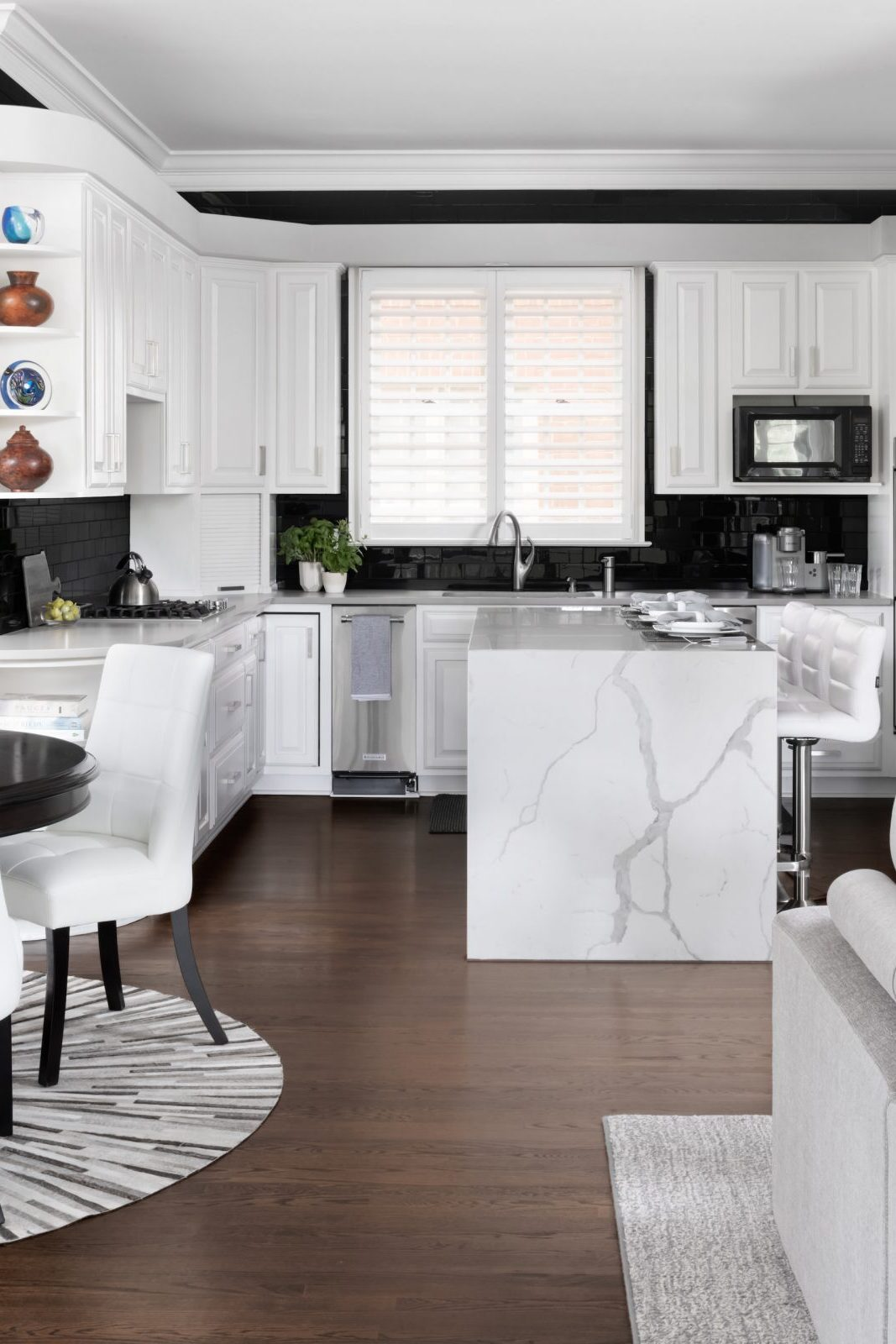 white and black kitchen with