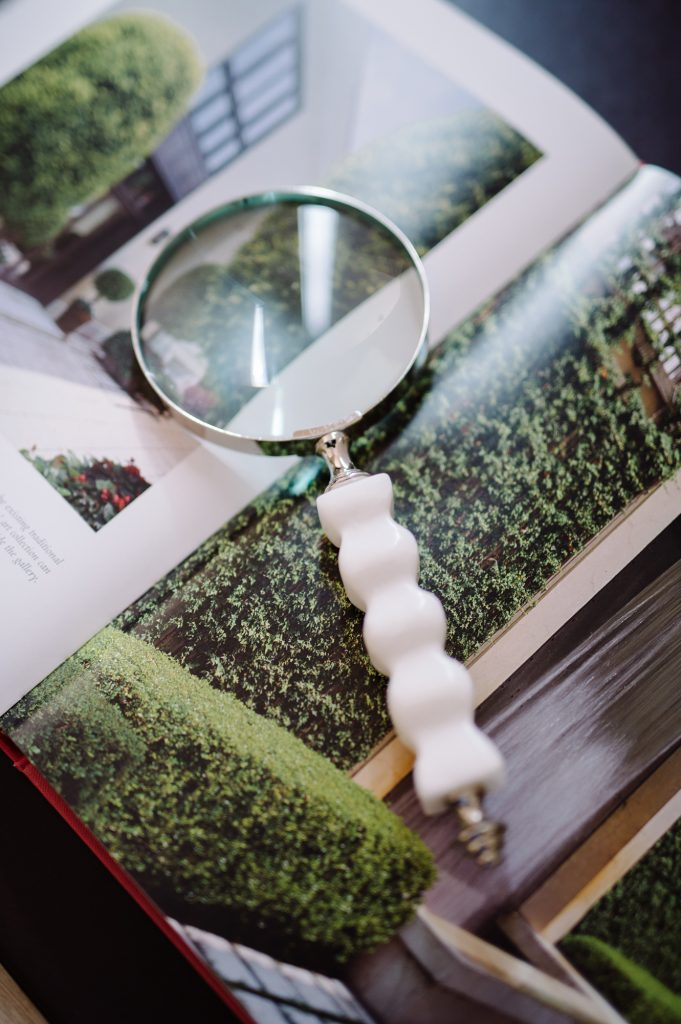 a magnifier on a magazine